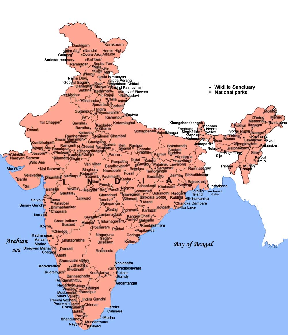 Map Of National Parks In India Map of Map of Wildlife Sanctuaries & National Parks in India   India